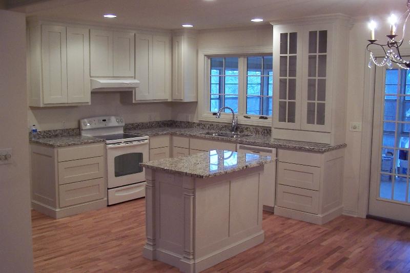 White Granite Kitchen With Island