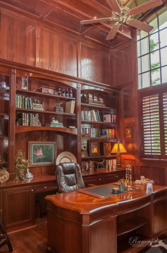 Executive Home Office With Traditionally Burnished Woods