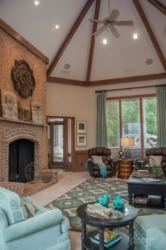 Vaulted Ceiling Living Room with Muted Colors - CMI ...