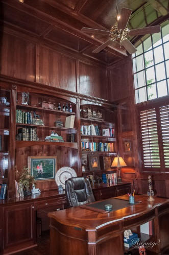 Executive Home Office With Traditionally Burnished Woods | CMI Construction  CMI Construction